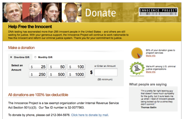 Innocence Project Donations Site