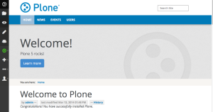 OOTB Plone 5 with the new editing toolbar on the left.  Still a work in progress, you will be able to choose top or side placement, and icons, text, or both.