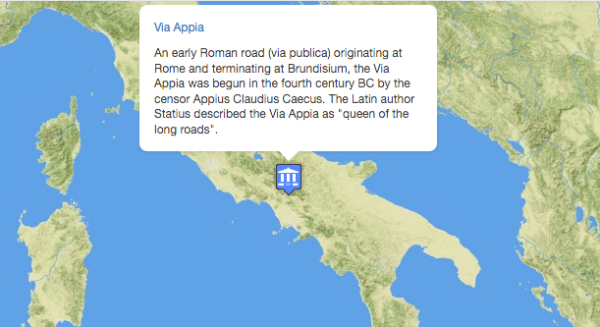 Via Appia entry on Pleiades