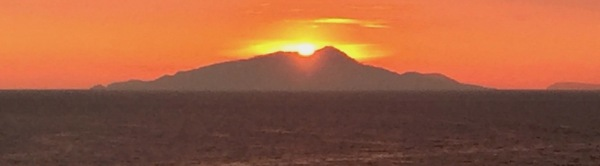 Sunset over the island of Capri, as viewed from the sprint venue