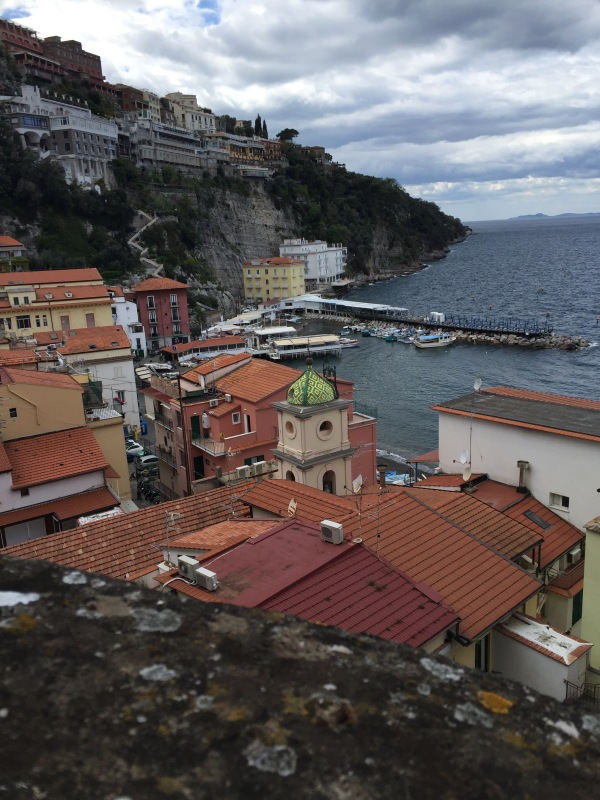 A view looking down at Sorrento's old harbor