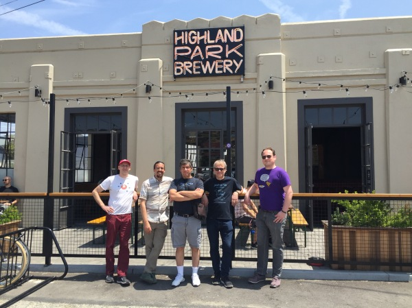 The Jazkarta team in front of the Highland Park Brewery.