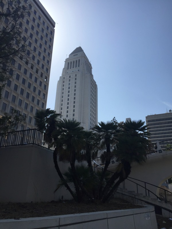 View of the Los Angeles City Hall from Los Angeles Street