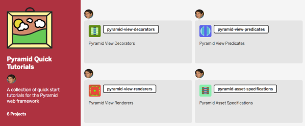 Screenshot: Pyramid Quick Tutorials showing pyramid-view-decorators, pyramid-view-predicates, pyramid-view-renderers and pyramid-asset-specifications